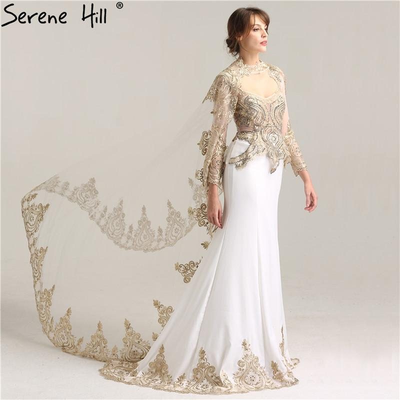 White Mermaid With Cap Fashion Evening Dress Long Sleeve Appliques Crystal Elegant Evening Gowns-SheSimplyShops