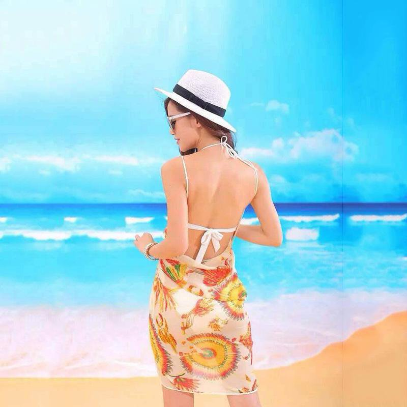 New Women Beach Dress Sexy Sling Wear Dress Bikini Cover-ups Wrap Skirts Towel Flower Open-Back Swimwear-Dress-SheSimplyShops