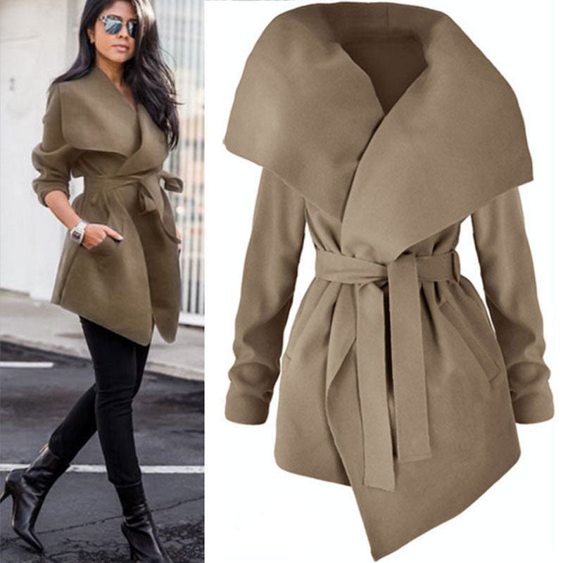 Winter Coats Women Autumn Woolen Blend Lapel Jackets V Neck Belt Lace up Solid Casual Slim Overcoats Female Outer