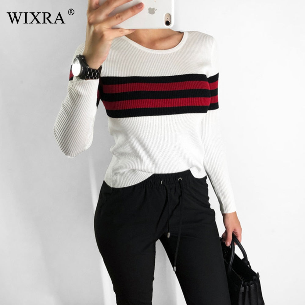 Wixra Pullovers Sweaters Slim O Neck Striped Sweater All Base Match Knitted Women's Clothing Autumn Winter