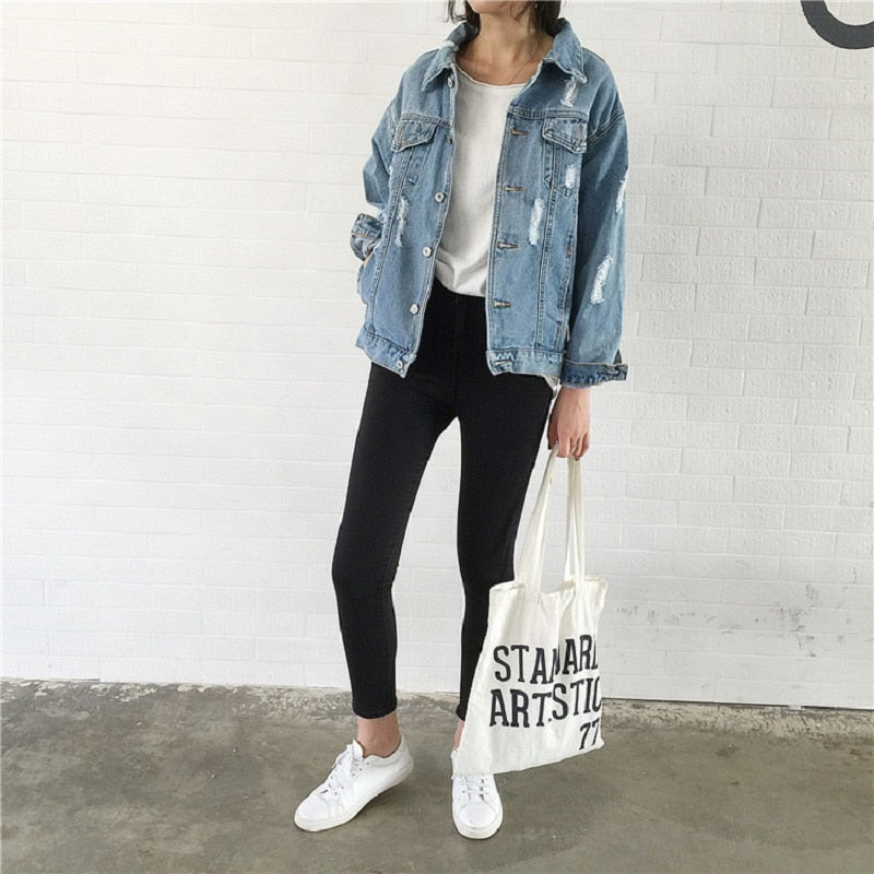 Women Basic Coat Denim Jacket Women Winter Denim Jacket For Women Jeans Jacket Women Denim Coat Lady Loose Fit Casual