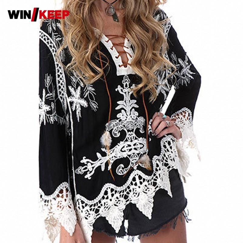 Women Floral Lace Beach Cover Up Female Summer Embroidery Lace Sexy Loose Fit Flare Sleeve Match Color Blouses-Blouse-SheSimplyShops