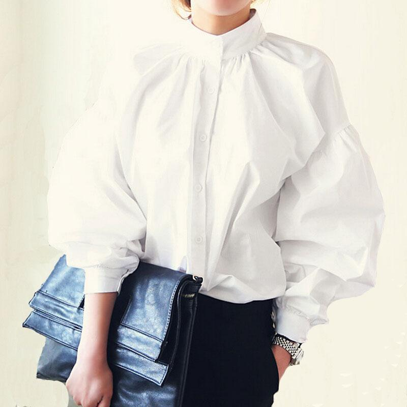 Women Lantern Sleeve Blouse Ladies Fashion Long Cotton Tops Female Vintage Loose Stand Collar Puff Shirts-Coats & Jackets-SheSimplyShops