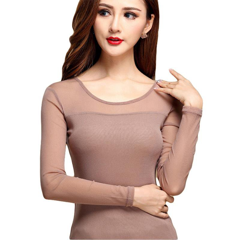 Women Sexy Blouse Shirt For Work Fashion Casual Long Sleeve Lace Tops Sexy Hollow Woman Tops Autumn Mesh Shirts-Blouse-SheSimplyShops