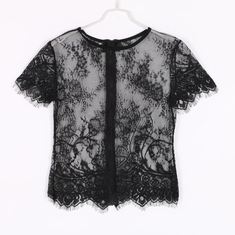 Women Sexy Lace Top Blush Black Short Sleeve O Neck Hollow Out With Zipper-Blouse-SheSimplyShops