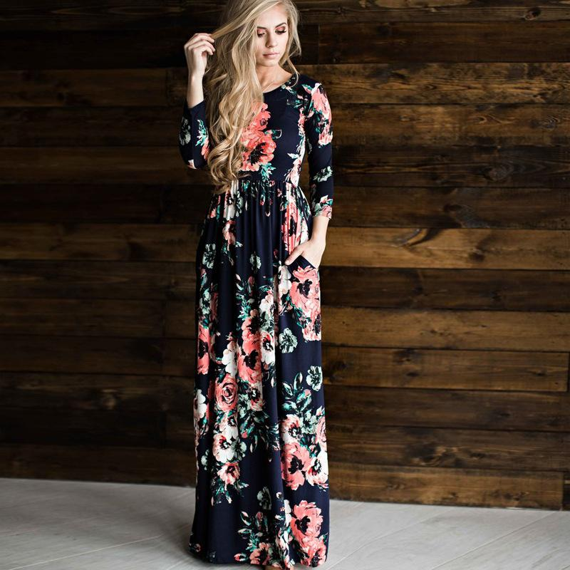 Women Sexy Long Sleeve Summer Fashion Style Long Party Dress Leisure Female Floral Print Dress Ladies Maxi Dress-Dress-SheSimplyShops