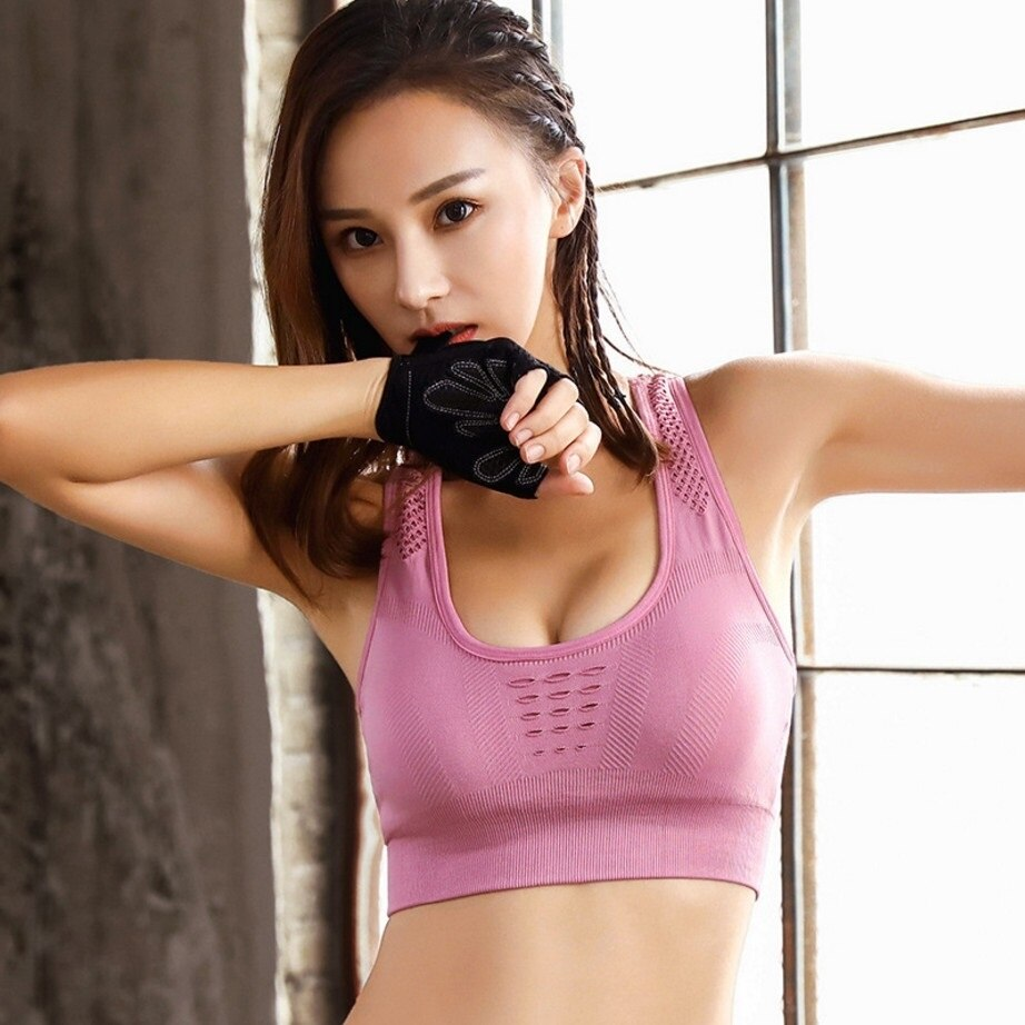 Women Sports Bra Breathable Yoga BH Tank Top Fitness Push up Gym Running Shockproof Shirt Workout Fast Dry Vest Wire