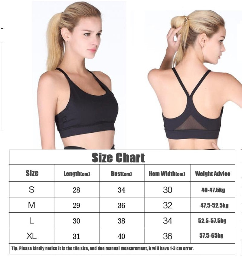 Women Sports Bra Solid Yoga Tank Top for Gym Fitness Push up Shockproof Seamless Shirt Running Workout Quick Dry Vest