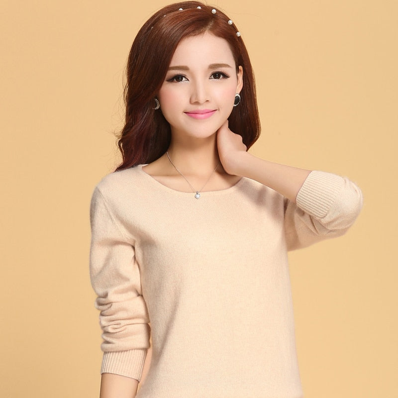Women Sweater 100% pure Cashmere Knitted Sweater Winter o neck Warm Sweaters for Ladies Pullvoer Goat Cashmere clothes