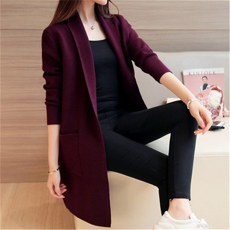 Women Sweater Long Cardigan Autumn Winter Long Sleeve Loose Knitted Cardigan female Sweaters Long Coat 345