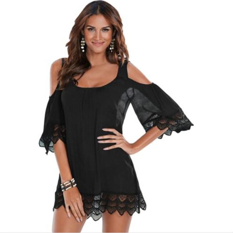 Women Swimwear Bikini Beach Wear Cover Up Kaftan Ladies Summer Style Half Sleeve Lace Swimsuit Biquini-SWIMWEAR-SheSimplyShops