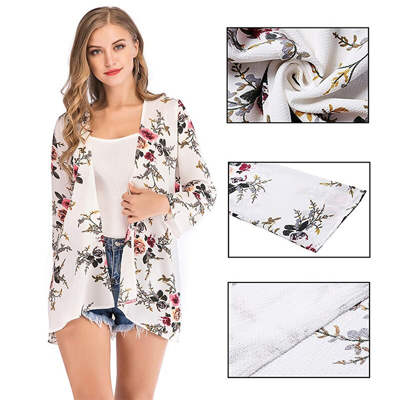 Women's Floral Print Sheer Kimono Cardigan Capes Chiffon 3/4 Sleeve Patchwork Casual Cover up Blouse Tops Autumn Spring