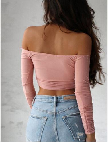 Women sexy Deep V neck Tops Cross Long Sleeve Lady Girl Crop Tops Off the Shoulder t -shirt Summer Women clothing-SHIRTS-SheSimplyShops