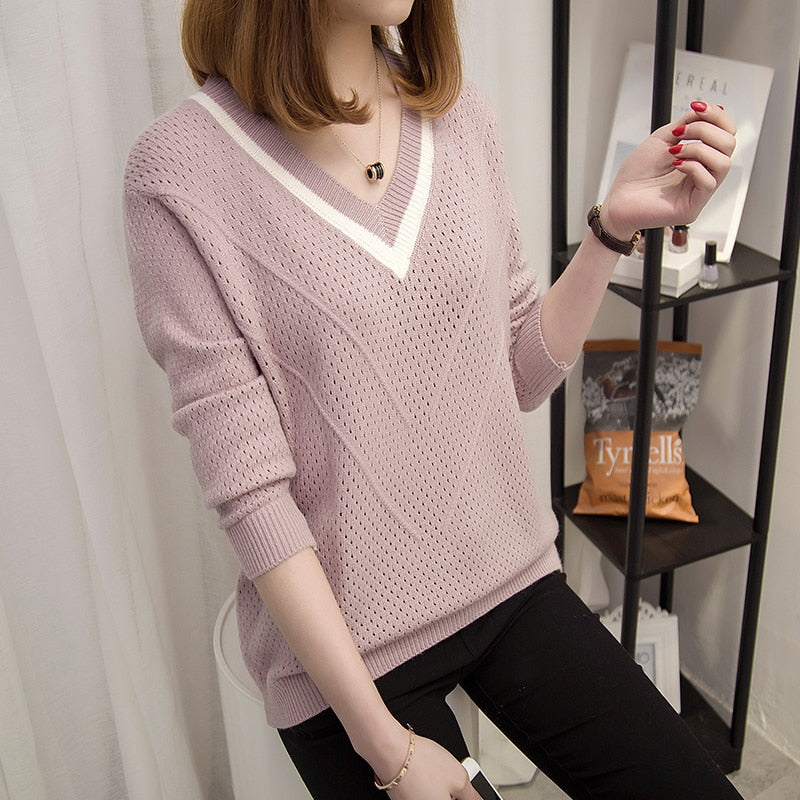 Women sweaters and pullovers Spring Autumn Korean hollow sweaters womens loose knitted sweater female v neck pullover tops