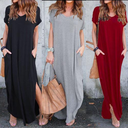 Womens Summer Maxi Dresses New Arrival Ladies Boho Dress Short Sleeve Round Neck Print Vintage Dress-Dress-SheSimplyShops