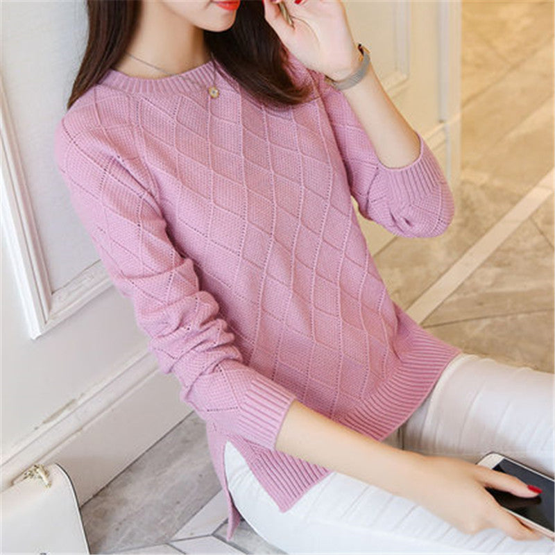 Womens Sweaters Autumn Winter Loose Pullover Pull Femme Side Split O neck Knitted Sweater Women Elastic Jumper Female Tops