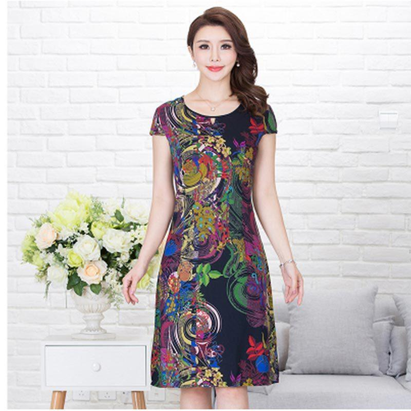 a19ca28fb3d2 Women print dresses long casual o-neck cotton summer dress Short sleeves Mid -calf