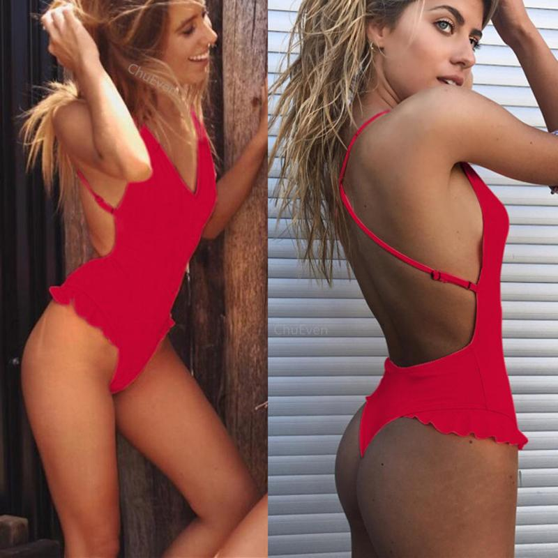 Sexy One Piece Swimsuit Women Ruffle Swimwear Bodysuit Bandage High Cut Out Summer Beach Bathing Suit-SheSimplyShops