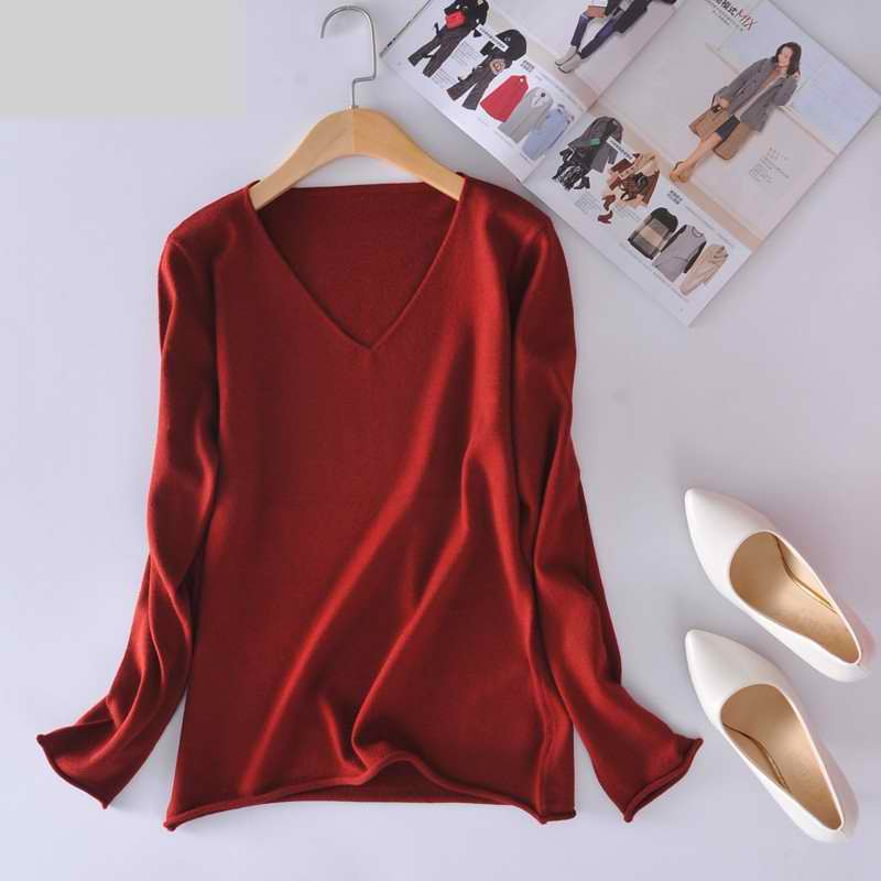 cashmere sweater fashion female v stripe sweater short section bottom knitting