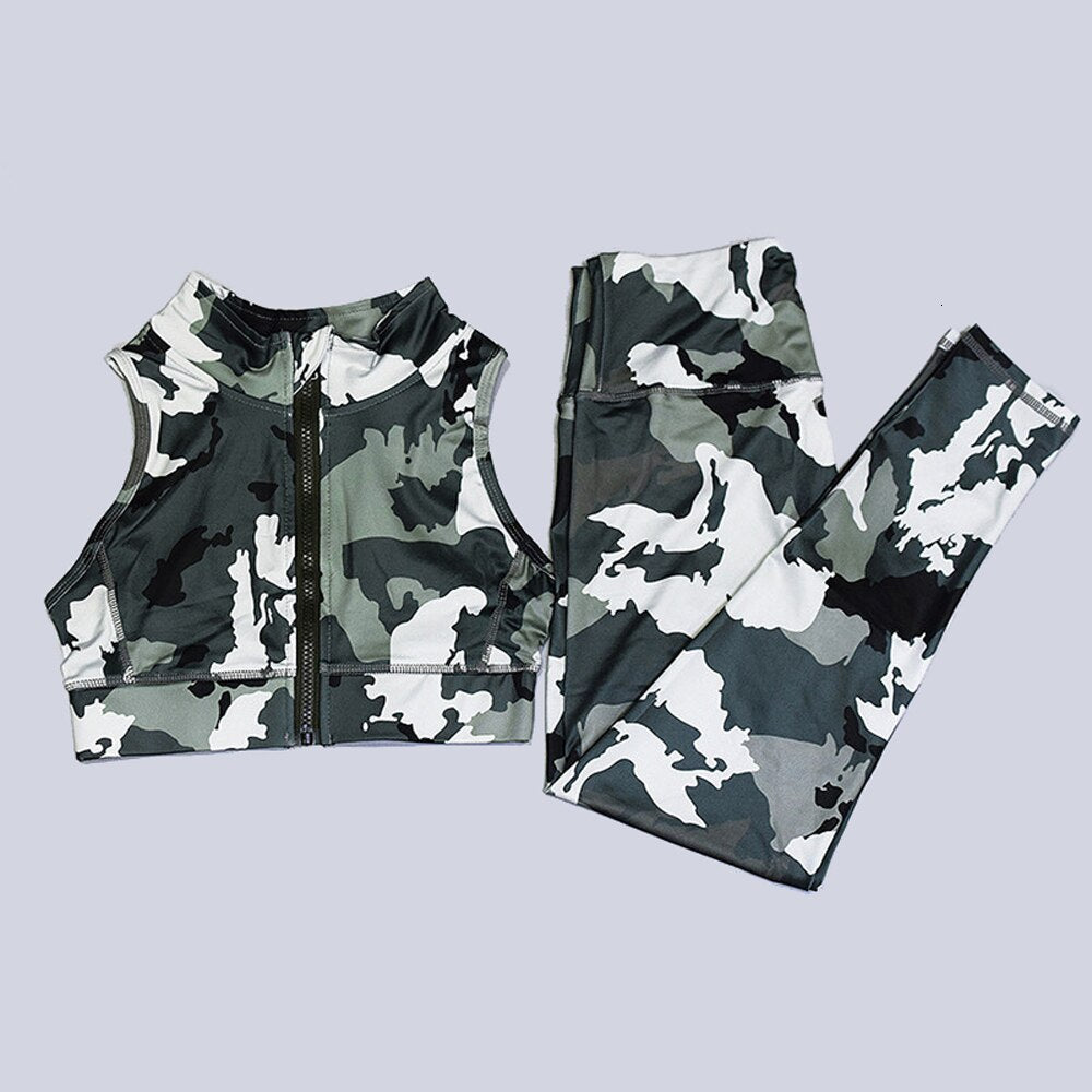 Yoga Set Gym Clothing Fitness Women Camo Workout Set Zipper Sport Suit Women Tracksuit High Waist Gym Leggings Padded Sports Bra