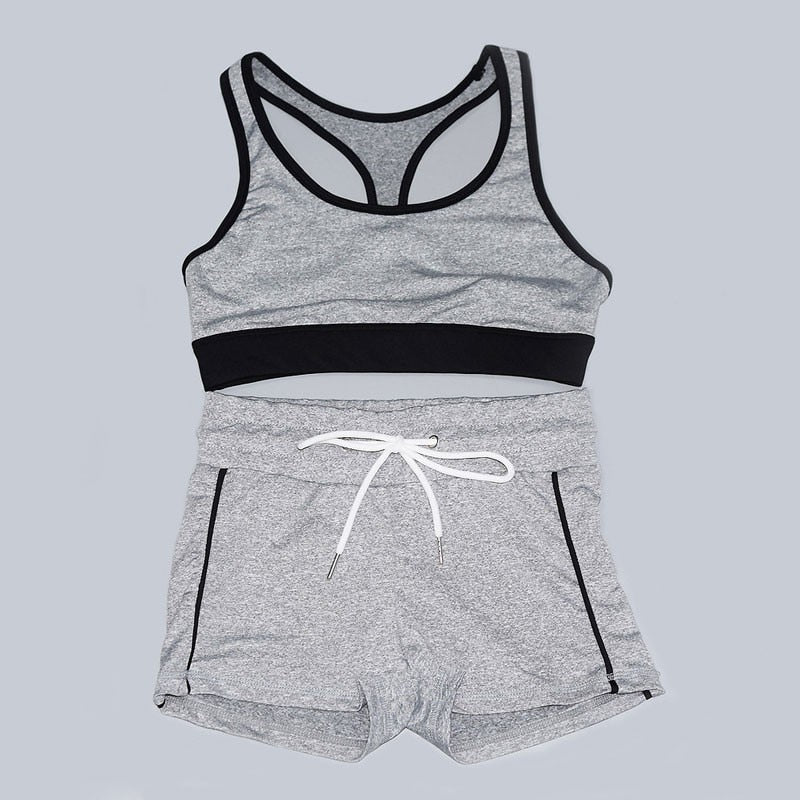 Yoga Set Women Fitness Clothing Sport Suit Women Tracksuits Workout Gym Running Suits Sport Shorts Padded Sports Bra Sportswear