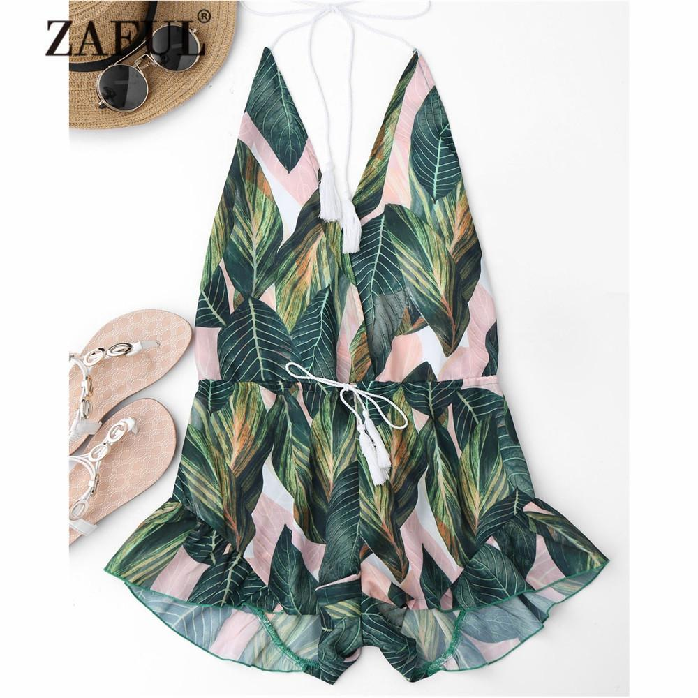 New Drawstring Backless Leaf Print Beach Cover Ups for Women Plunging Neck Halter Ruffles Playsuit Plant Cover-Ups-SheSimplyShops