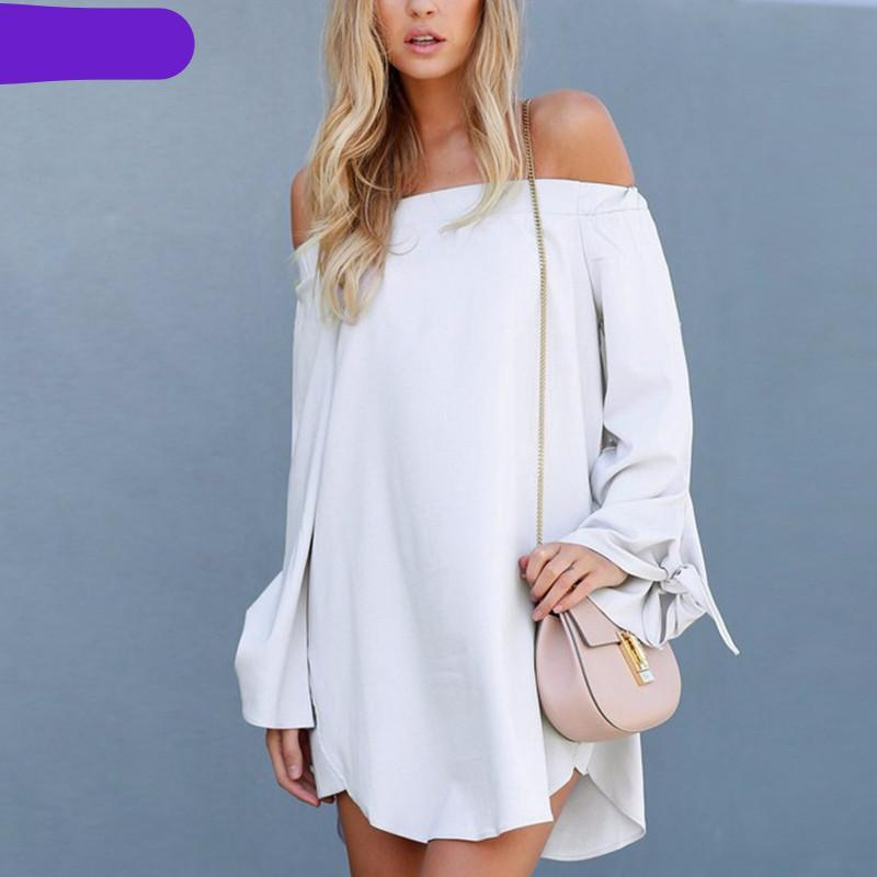 Sexy Off Shoulder Slash Neck Tops-Dress-SheSimplyShops
