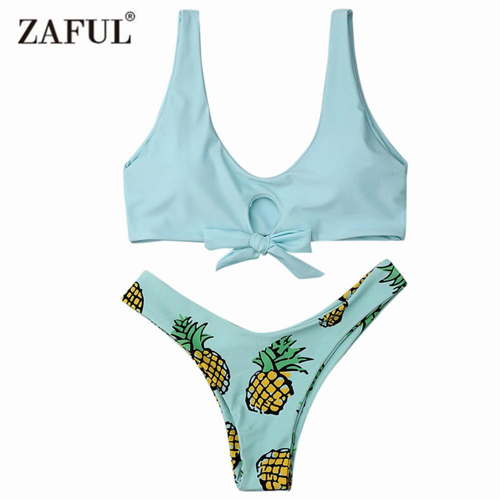 Women Pineapple Print Thong Bottom Bikini Set Summer Swimwear Spaghetti Straps Swimsuit-Bottoms-SheSimplyShops