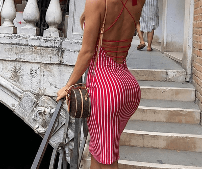 Sexy Backless Summer Dress Striped Red Midi Dress Party Body con Dress Cotton Skinny Women Dresses Beach Sundress-SheSimplyShops