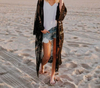 Everkaki Bohemian Solid Kimono Coat Women Beach Loose Boho Lace Transparent Long Kimono Coats Female Summer Autumn