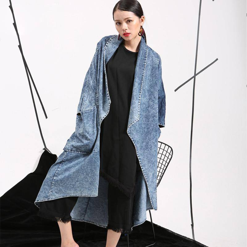 EAM Spring Double Pockets Windbreaker Woman Bat Sleeve Denim Cotton Loose Big Size Long Jacket Thin Coat W0205