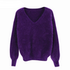 winter women's angora rabbit Jumper sweater V neck lantern sleeve mink cashmere knitted pullovers keep warm thick loose