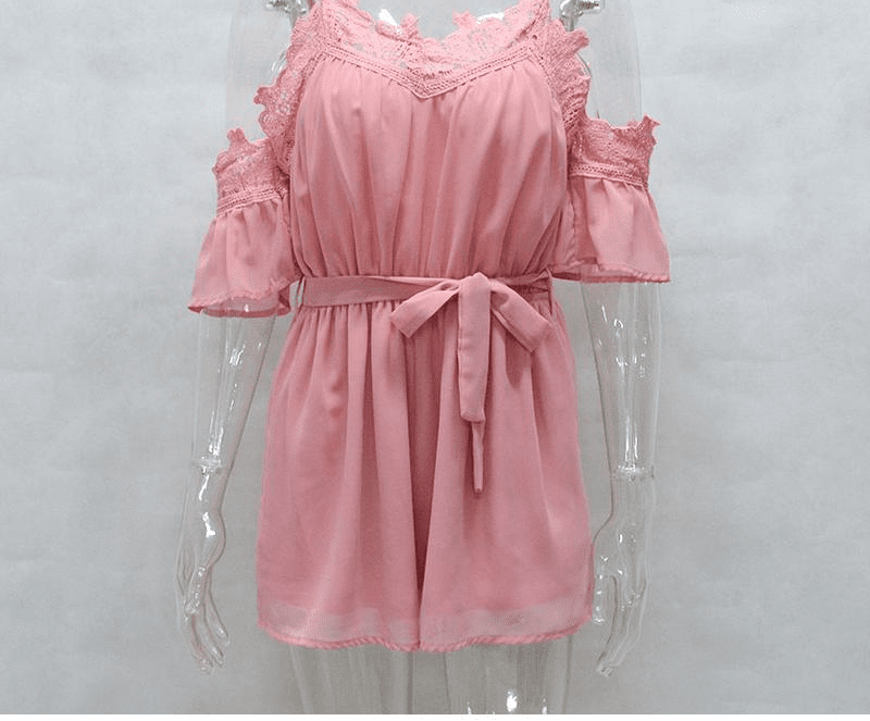 Off Shoulder Lace Insert Women Chiffon Jumpsuit Rompers Sexy Summer Jumpsuit Casual Beach Shorts-SheSimplyShops