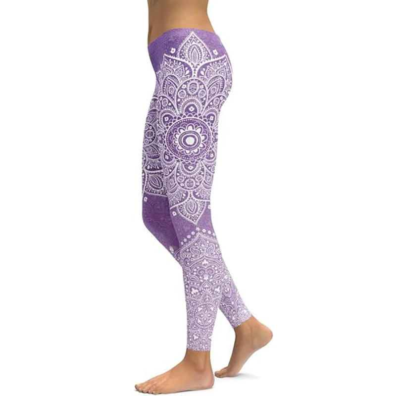 LI FI Soft Purple Mandala Yoga Leggings Yoga Pants Workout Sports Gym Leggings