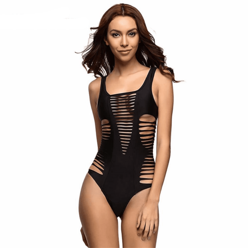 Black Red Rose Sexy hollow out one piece swimwear Female swimsuit bathing suit for women swim wear beach-SWIMWEAR-SheSimplyShops