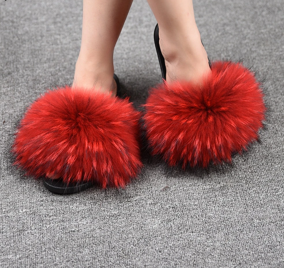 Shoes Women Slippers Raccoon Fur Slides Summer Fur Flip Flops Lady Sandals Fluffy Sliders