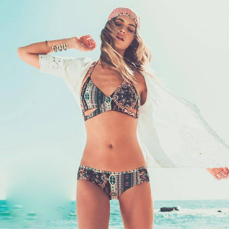 Women Bikini Set Ethnic Print Top + Low Waist Bottom Bikinis Summer Swimsuit Beach Swimming Swimwear Bodysuit