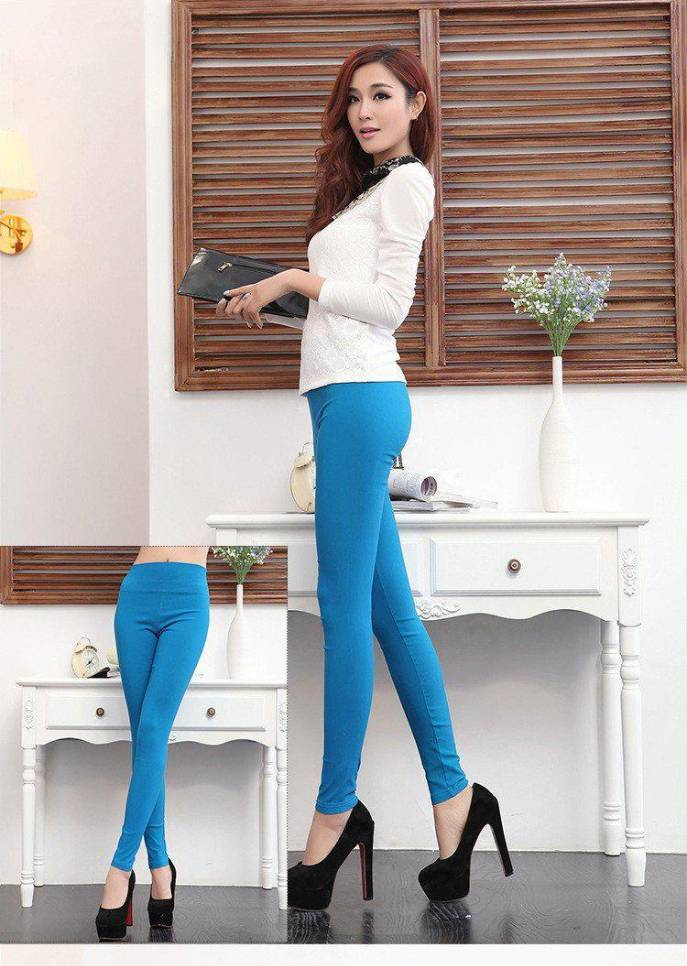 Women high stretch cotton leggings 18 candy color ladies high waist  pencil pants female skinny leggings