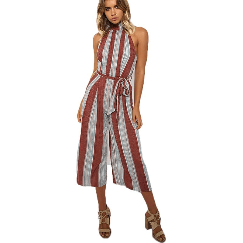 Sleeveless Halter Striped Print Women Wide Leg Jumpsuit Sexy Choker Rompers Overalls Summer Loose Pants-SheSimplyShops