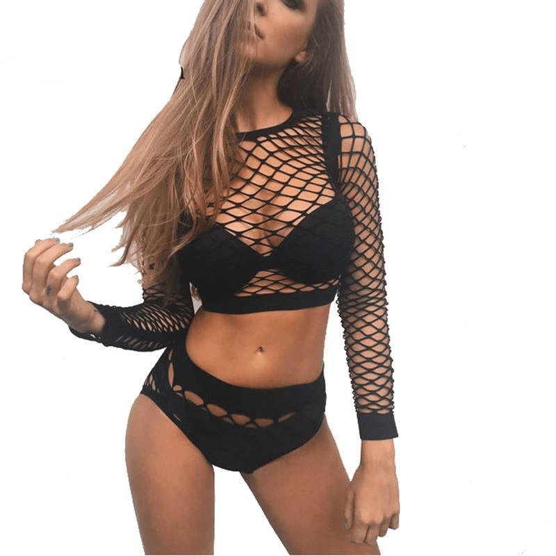 Sexy Black Hollow Out Fishnet Top&Knickers Set Mesh Women Bodysuit 2 Piece Suit Summer Rompers Jumpsuit Body Beach Wear-SheSimplyShops