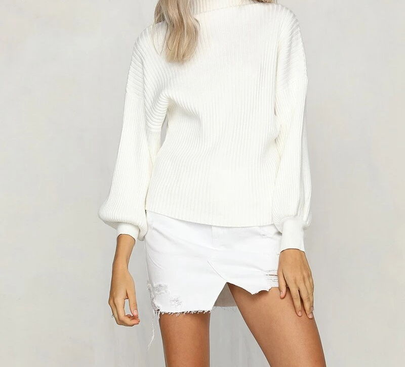 White Sweater Women Jumper Knitted Casual Solid Pullovers Ladies Tops Long Sleeve Sweaters Female Autumn Winter Pull Femme