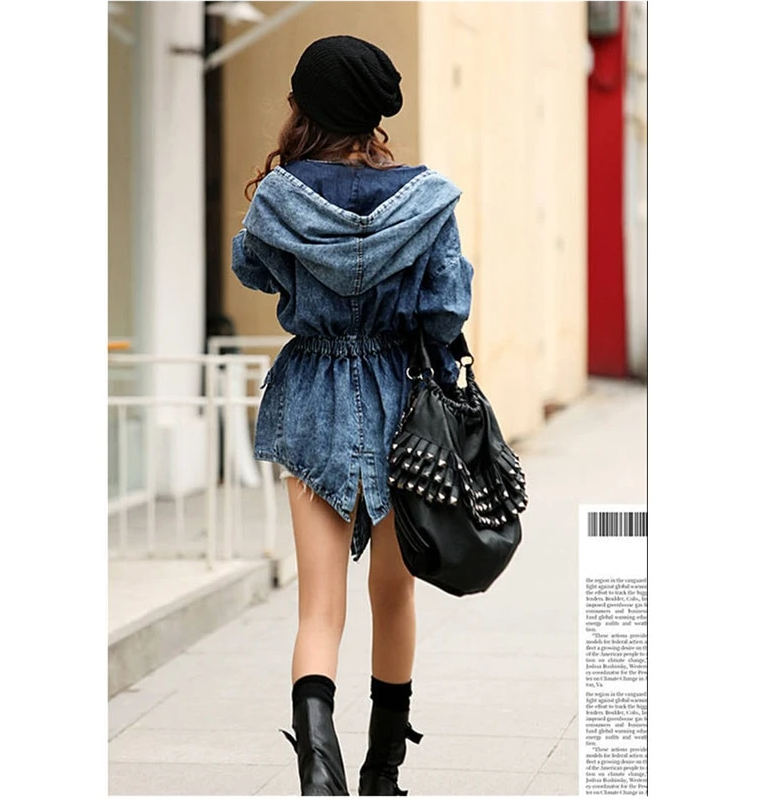 Women Denim Jeans Coat Jacket Women Jeans Coats Vintage Long Sleeve Slim Hoody Plus Size Hooded Coat Roupas Femininos