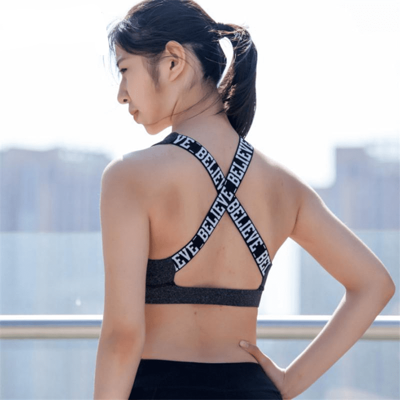 Women Believe Letter Print Fitness Yoga Bras Cross Back Sports Bra Push Up Padded Running Underwear Cropped Sport Top-ACTIVEWEAR-SheSimplyShops