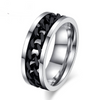 Spinner Black Chain Ring For Men Stainless Steel Wedding Mens Ring Cool Jewelry
