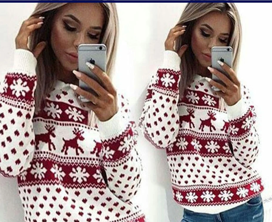 Autumn Winter Christmas Sweater Women Casual Long Sleeve Deer Print Knitted Sweater Ladies Pullover Jumper Ugly Pull Femme