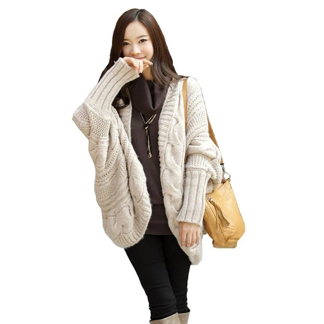 Ostrich Autumn Winter Knitted Cardigans Coat Women Long Sleeve Batwing Poncho Sweater Crochet Cardigan Oct2032