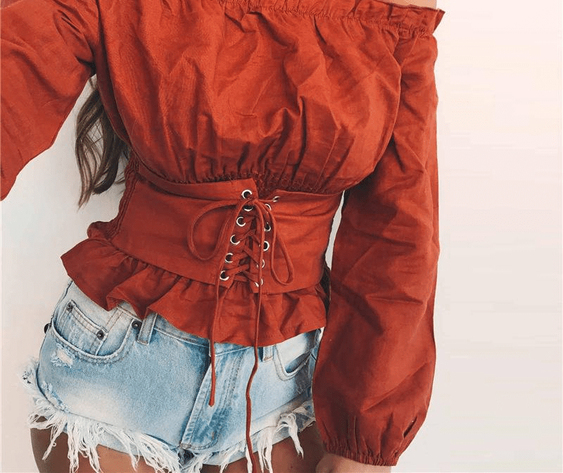 Off Shoulder Sexy Women Long Sleeve Blouse Shirt Lace Up Female Shirts Ruffles Autumn Blouses Casual Top New Red-SheSimplyShops