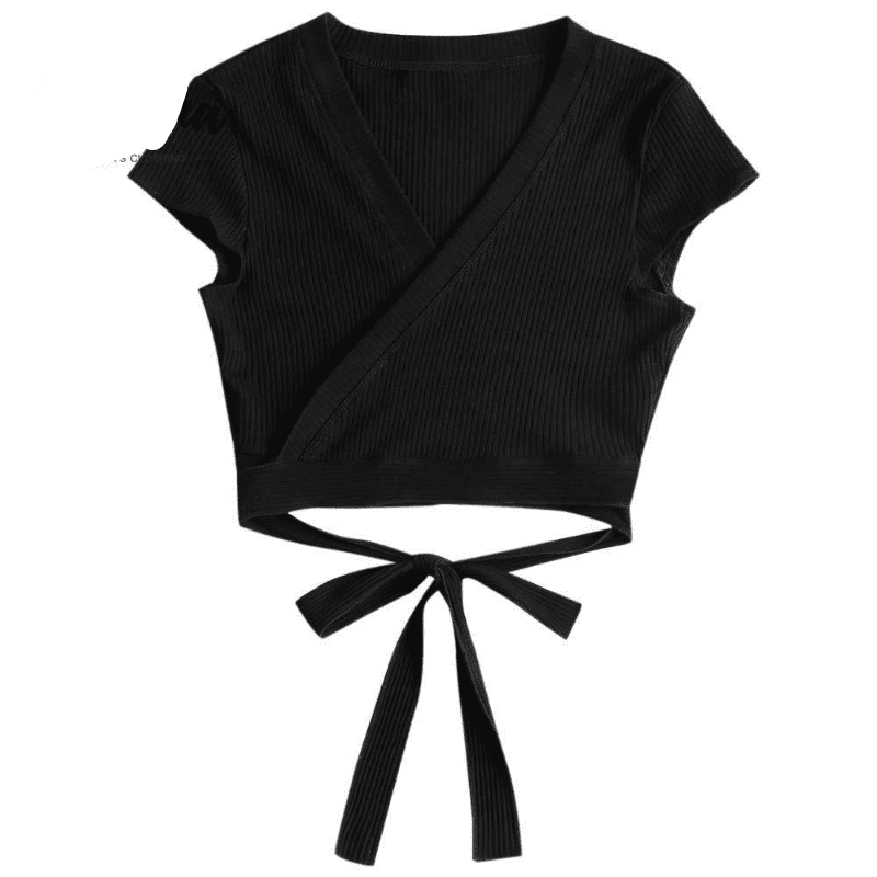 Sexy Plunging Neck Short Sleeve Crop Top Summer Low Cut Solid Wrap Tee Women T-Shirts Causal T-Shirt Ladies Tops-SheSimplyShops