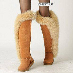 Fox fur Leather Winter Boots