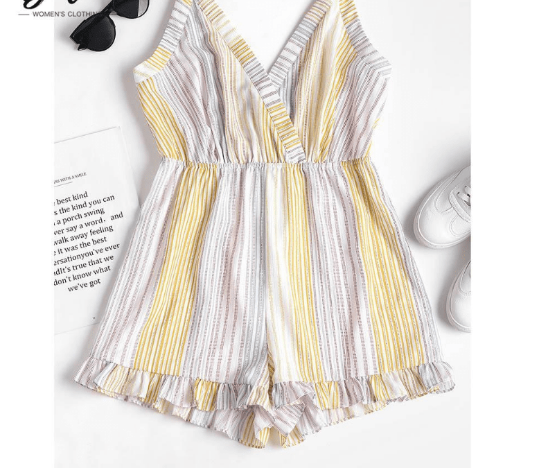 Knotted Back Striped Romper Women Summer Beach Spaghetti Strap Sleeveless Bow Knot Jumpsuit Ladies-SheSimplyShops